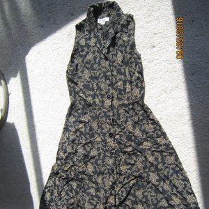 Evan Picone Black & Beige Paisley full dress